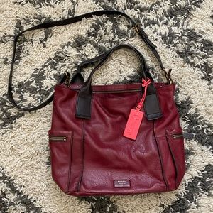 Leather Maroon Fossil Crossbody Tote
